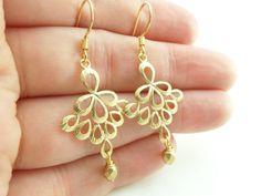 Gold Wedding Earrings Gold Drop Earrings Gold Filigree by Jalycme, $24.00