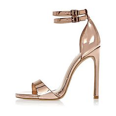 Rose gold barely there heeled sandals