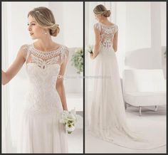 Wholesale cheap white wedding dresses online, misses - Find best 2015 custom made graceful white wedding dresses sheath jewel sheer neck court train draped applique chiffon bridal dresses wedding gown xL36 at discount prices from Chinese sheath wedding dresses supplier on DHgate.com.