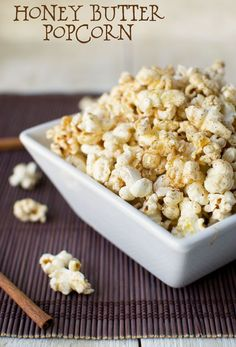 Cinnamon Honey Butter Popcorn. A quick and easy homemade snack that will satisfy your sweet tooth!