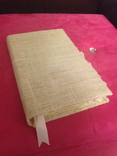 A DIY Journal that I made by water coloring the pages and using burlap fabric for the cover!
