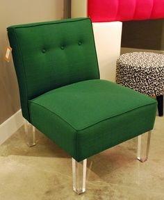 Green chair with lucite legs at Skyline. Spring 2015, Showroom, Accent Chairs, Skyline, Legs, Green, Furniture, Home Decor, Upholstered Chairs