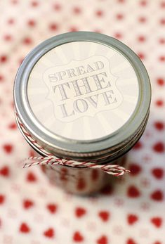"Yellow Suitcase Studio: Freebie: Printable ""Spread the Love"" Canning Labels. What a great idea for a label!"