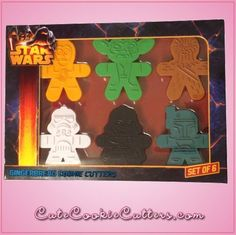 Our Star Wars Gingerbread Cookie Cutter Sets include 6 Star Wars cookie cutters measuring 4 inches tall.  Each are made out of sturdy plastic.  Included are a C