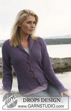 """Ravelry: jacket with textured pattern in """"Alpaca"""" free pattern by DROPS design Knitting Patterns Free, Knit Patterns, Free Knitting, Free Pattern, Drops Design, Knit Cardigan Pattern, Knitted Coat, How To Purl Knit, Knit Jacket"""