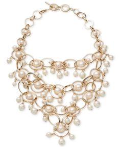 Carolee Gold-Tone Imitation Pearl & Pave Statement Necklace - White