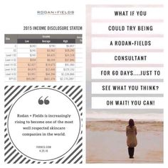 If YOU could dive into Rodan + Fields as a TRIAL Consultant AND I could show you how to work this business TOTALLY risk free for 60 days, would you be interested? Would you put down all of the I-don't-have-time-I'm-not-a-good-salesperson-I-can't-do-what-you-do thoughts and just take a look?  I'm looking for FOUR people to mentor for the next 60 days. Don't forget, if you decide this business is for you, you not only earn a pay check, but you may earn your kit reimbursement ba