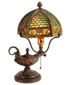 Antique Bradley & Hubbard Lamp Puffy Emeralite Shade Miller ...