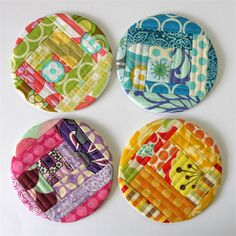 4 x Quilted Circle Coasters - Rainbow Log Cabins - monkey & bee