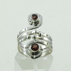 BEAUTIFUL ATTRACTIVE DESIGN RING GARNET STONE 925 SOLID STERLING SILVER  #SilvexImagesIndiaPvtLtd #Statement
