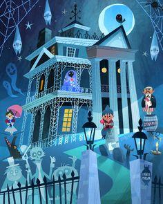 Cute re-imagining of Disney's Haunted Mansion - Halloween.