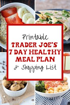 I freaking love Trader Joe's and by the response to some of my TJ's recipes and recent grocery hauls, you guys do too! So, for today, I thought I'd share a quick and easy healthy meal plan and shopping list for Trader Joe's. Healthy Eating Meal Plan, Quick Healthy Meals, Healthy Foods To Eat, Clean Eating, Healthy Meal Planning, Healthy Weekly Meal Plan, Dinner Healthy, Trader Joes Food, Best Of Trader Joes