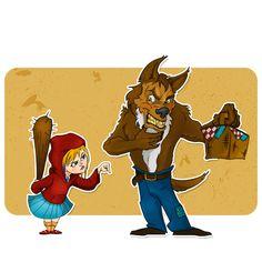 We like to do our take on classic fairy tales, this time is little red riding hood. #givemethebasketbacknow #littleredridinghood #fairytale #digitalcomic #bigbadwolf #flamalamastudio