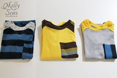 Three Shirts - Melly Sews - like the pocket and sleeve material variations
