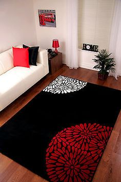 Muebles de salon a sof negro beautiful yes but no and for Cheap modern living room rugs