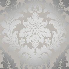 Shimmer Metallic Grande Damask Wallpaper Soft Grey, Silver (ILW261539)