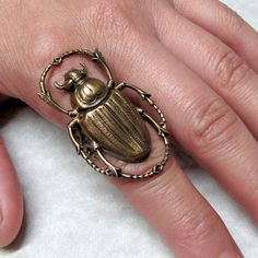 Golden Scarab Beetle ring band by ranaway on Etsy, $35.99