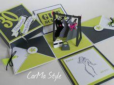 Noch eine Geburtstagsbox für eine modebewusste junge Dame. Heute in der Farbkomi Anthrazit, Limette und Flüsterweiss, eine Hammerkombi finde ich! Diese Explosionsbox war ein Geschenk zum 30. Geburt…