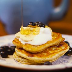 Donal Skehan's gluten free pancakes with blueberry, banana and honey ...