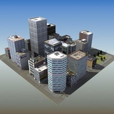 3dsmax office city block - RT MidTower Block LW... by ES3DStudios