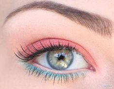 Pink Blue Eye Make up,