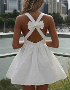 Moldes Moda Por Medida White Dress With Bow In Back