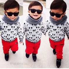 Little boy fashion Little Boy Outfits, Little Boy Fashion, Kids Fashion Boy, Cute Outfits For Kids, Cute Kids, Lil Boy, Little Man, Toddler Swag, Mickey Shirt