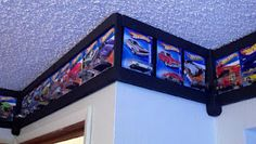 Craftsman tool box dresser, it's on rolling wheels and everything. Border ma… Craftsman tool box dresser, it's on rolling wheels and everything. Border made special for my brother's hot wheels car collection. Hot Wheels Storage, Hot Wheels Display, Kids Storage, Wall Storage, Toy Storage, Tool Box Dresser, Kids Car Garage, Hot Wheels Bedroom, Boy Room