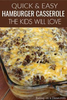 Looking for easy casserole recipes? Make the best hamburger casserole TODAY! Learn How to make Hamburger Casserole that even the kids will love! Everyone loves this potato casserole with meat and is the perfect potluck recipe. Best Hamburger Casserole Recipes, Potatoe Casserole Recipes, Ground Beef Casserole, Beef Recipes, Cooking Recipes, Spinach Casserole, Corn Casserole, Turkey Recipes, Cooking Ideas