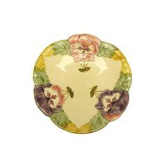 French Majolica Plate. Hand Painted Flower by LeBonheurDuJour