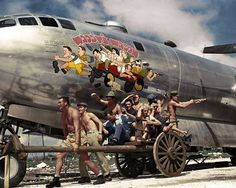 "#WW2ColourisedPhotos ..... The crew of the Boeing B-29 Superfortress ""Waddy's Wagon"", 869th Bomb Squadron, 497th Bomb Group, 73rd Bomb Wing, 20th Air Force, posing to duplicate their caricatures in the nose art.  Isley Airfield in Saipan, 24th of November 1944."