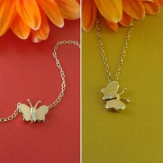 14k solid gold mini butterfly diamont por GoldenJewelryDreams