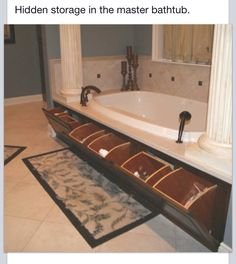 Master bathroom garden tub hidden storage, I& not going to have a garden tu. Master bathroom garden tub hidden storage, I& not going to have a garden tub, but this is a great idea. Pot Jardin, Warm Home Decor, Hidden Storage, Secret Storage, Storage Drawers, Hidden Shelf, Cabinet Storage, Storage Compartments, Extra Storage