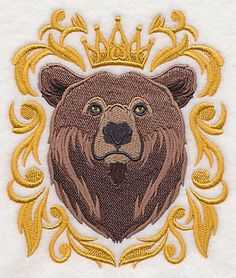 Bear with Baroque Crown and Frame design (L9693) from www.Emblibrary.com