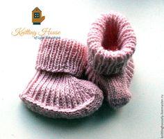 Купить Пинетки для девочки вязаные спицами полушерстяная пряжа розовые теплые - бледно-розовый, пинетки