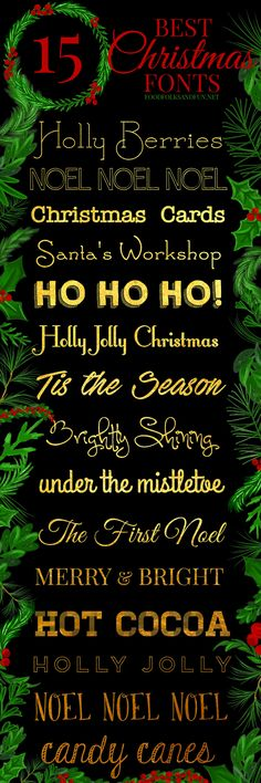 The best & FREE Christmas fonts! These are perfect for all things holiday. Gift tags, printables, Christmas Cards, holiday decor, projects, and more!   Christmas card fonts   free holiday fonts   Merry Christmas Fonts