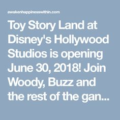 Toy Story Land at Disney's Hollywood Studios is opening June 30, 2018! Join Woody, Buzz and the rest of the gang in exploring Andy's backyard. Enjoy new rides, character meetings and tasty treats from Woody's...