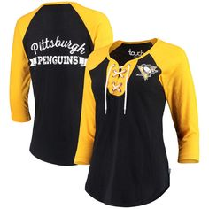 8171bb97c Touch by Alyssa Milano Pittsburgh Penguins Women s Black Home Run 3 4-Sleeve  T-Shirt