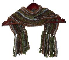 Manly Brown and Green Scarf with Fringe  Hand Knit  by hideandhair, $30.00