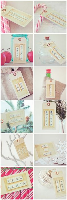 Scrabble tile words, photographed and printed onto tags.