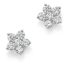 Diamond Flower Small Stud Earrings in 14K White Gold, .70 ct. t.w. -... (6.830 RON) ❤ liked on Polyvore featuring jewelry, earrings, white gold stud earrings, 14k stud earrings, 14 karat gold earrings, diamond jewelry and 14 karat white gold earrings