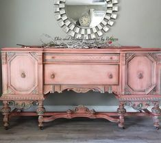 Vintage buffet Available! ❤ Morning light staging is all Cowgirl Coral needed this morning. Message for… Pink Furniture, Refurbished Furniture, Repurposed Furniture, Furniture Makeover, Vintage Furniture, Chalk Painting Furniture, Buffets Furniture, Etsy Furniture, Painted Furniture For Sale