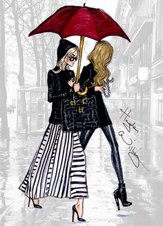 How elegant is this? Red Umbrella by Hayden Williams #fashion #illustration…
