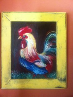 Framed rooster oil painting
