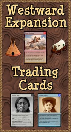 """Are you looking for a way to add interest to your Westward Expansion unit? Do you need more activities for your learning stations? """"Westward Expansion Trading Cards"""" is a set of 54 trading cards highlighting people, events, locations, treaties and ideas. Print & laminate the cards to create a standard set of playing cards. """"Educational Trading Card Games"""" details 3 original learning games. """"Creating Educational Trading Cards"""" shows teachers and students how to make their own cards. ($)"""