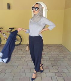 Long sleeve grey shirt with loose navy trousers for killer Hijab fashion