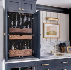 Perfect cabinet for all the ups and downs. Happy holidays everyone! Cheers to a healthy and prosperous . Photo by Fixtures and furnishings via Architect Natural arrangement by Light Wallpaper Sink and faucet Paint color French Beret. Wet Bar Designs, Home Bar Designs, Home Wet Bar, Bars For Home, Kitchen Wet Bar, Kitchen Knobs, Mini Bars, Up House, Basement Remodeling