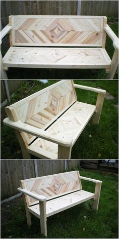 Here we have come about with the perfect creation of the wood pallet that is being projected in the bench style. You would be finding it overall so unique with the textured pattern work of art that is Wooden Pallet Projects, Wood Pallet Furniture, Furniture Projects, Rustic Furniture, Wood Pallets, Diy Furniture, Pallet Ideas, Pallet Benches, Outdoor Pallet