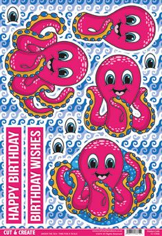 Buzzcraft Under the Sea Cut & Create - Time for a Tickle, octopus 3d Paper Crafts, Paper Craft Supplies, Diy And Crafts, Crafts For Kids, Free Cards, 3d Cards, Under The Sea Clipart, 3 D, Backgrounds Wallpapers