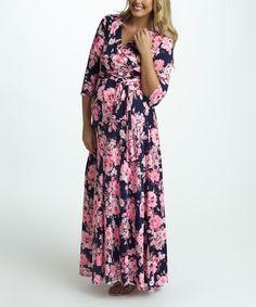 9e99a858ab7 PinkBlush Pink Floral Draped Maternity Nursing Maxi Dress